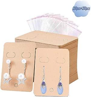 200 Set Earring Display Card with Self-Seal Bags, Kraft Paper Earring Card Holder for DIY Ear Stud/Jewelry Display