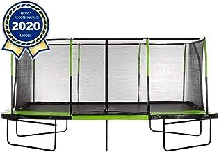 Upper Bounce - Mega 10' X 17' Gymnastics Style, Rectangular Trampoline Set with Premium Top-Ring Enclosure System - Green/...