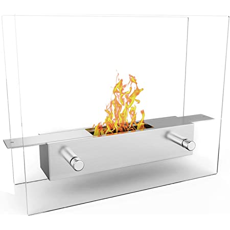 Regal Flame Indoor Outdoor Lyon Tabletop Portable Bio Ethanol Fireplace - Stainless Steel