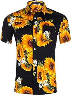 TUDUZ Blouse Women's Shirt Holiday Beach Sunflower Print Hawaiian Shirt Slim Fit Button Lapel Short Sleeve Casual Shirt Tops Blouse XXL Black