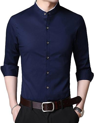 Camisa para hombre formal de negocios, manga larga, corte regular, cuello alto