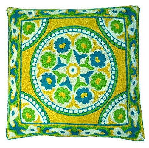 Guru-Shop Kelim Kussenhoes, Boho Kussenhoes `kasjmier` van wol - Patroon 4, Veelkleurig, 50x50x1 cm, Decoratiekussen Sofa-kussen