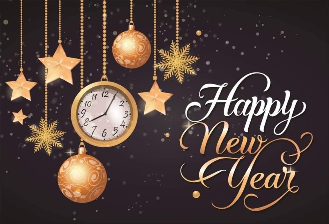 Happy New Year 2019 Backdrop Polyester 10x6.5 Golden Alarm Clock Countdown Confetti Dazzling Bokeh Haloes Photography Background New Years Eve Party Banner Child Baby Adult Portrait Shoot Poster