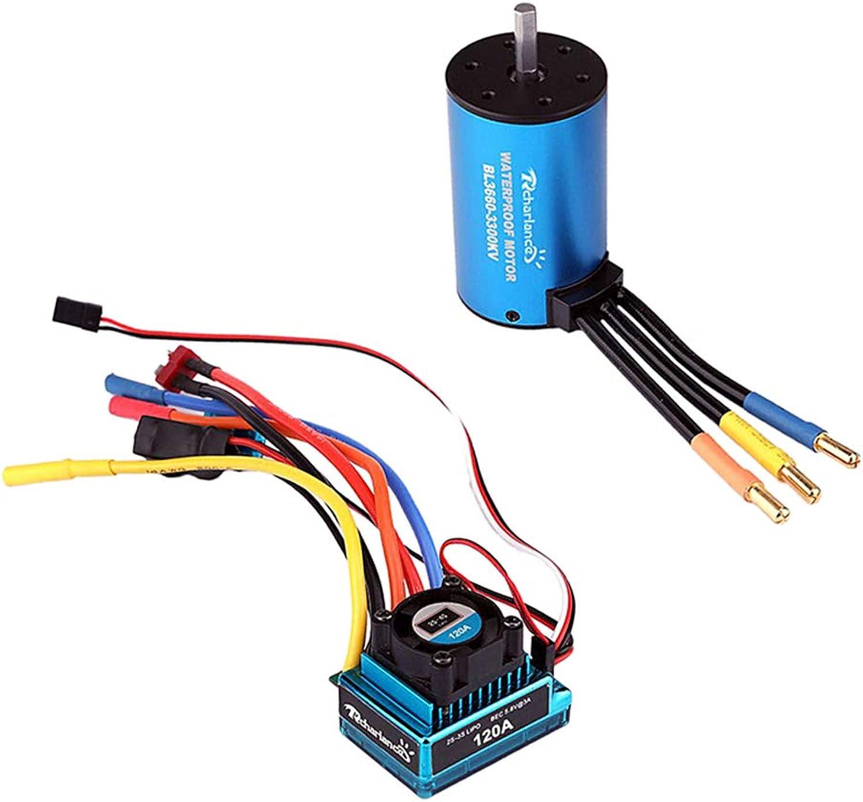 Baoblaze 2pcs RadioControlled Toys RC Car Accessories 120A ESC & 3660 3300KV Motor for 1 8 1 10 RC Car