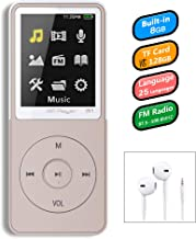 8GB Mp3 Player, GREATLINK W1 Ultra Slim Music Player with FM Radio, Voice Recorder, Video Play, Text Reading, 50 Hours Playback and Expandable Up to 128 GB (White&Grey)