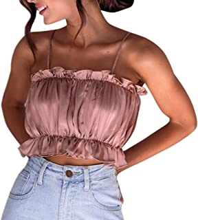 SADUORHAPPY Women Solid Color Ruched Tops Short Sleeve Blouse Tank Tops Tee T-Shirt Fashion Slash Neck