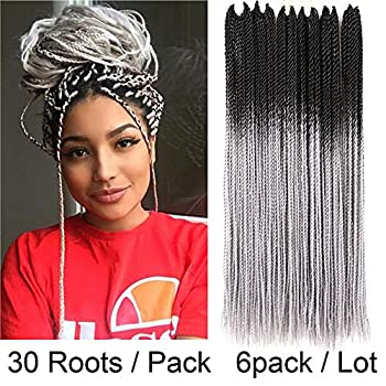 VCKOVCKO Senegalese Crochet Twist Braids Ombre Color Synthetic Hair Extensions 30 Roots/Pack 100g/Pack 6Pack/Lot Twist Braiding Hair Senegalese Twist Crochet Hair 24 Inches Black-Gray