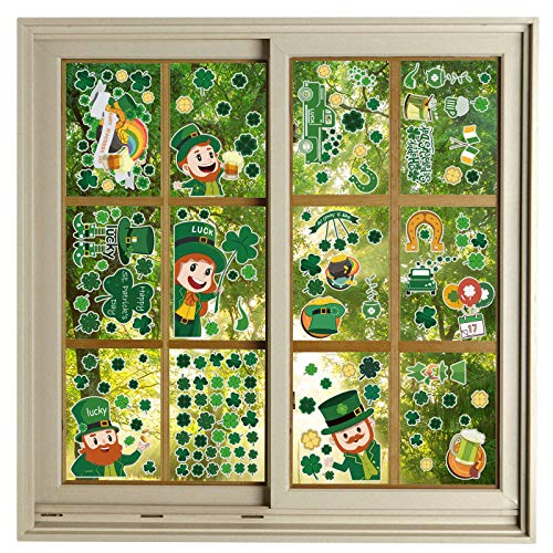 DLUCKY St Patricks Day Window Clings Stickers Decorations, 9 Sheet St Patricks Day Sticker With Removable Vinyl Window Sticker Decals for Home,St Patricks Day Window Display,Shamrock Irish Party,Kids Rooom Window Decoration,Shamrock Window Stickers