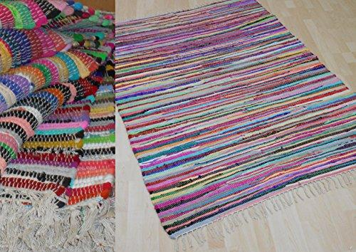 MB Warenhandel24 Fleckerl MALMÖ Multicolor Baumwolle Handweb Teppich viele Größen erhältlich NEU (ca. 140x200 cm)