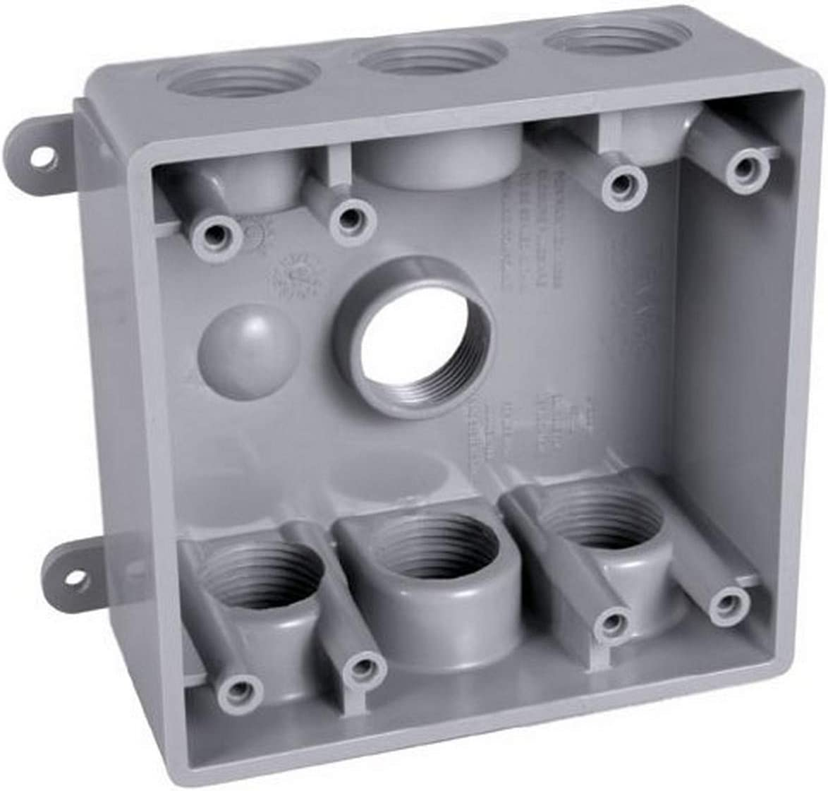 Hubbell Bell Pdb77550gy Two Gang Weatherproof Box Seven 1 2 Or 3 4 Inch Threaded Outlets Gray Finish Electrical Outlet Boxes Amazon Com