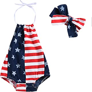 Baby Girls Boys Summer Outfits Clothes 4th of July 2018 Star Straps Romper Headband 2Pcs Set for 6-24 Months