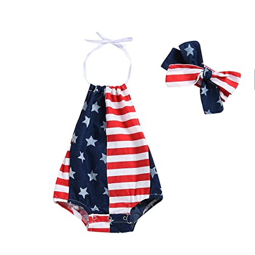 01a8cbbdc2e3 Baby Girls Boys Summer Outfits Clothes 4th of July 2018 Star Straps Romper  Headband 2Pcs Set