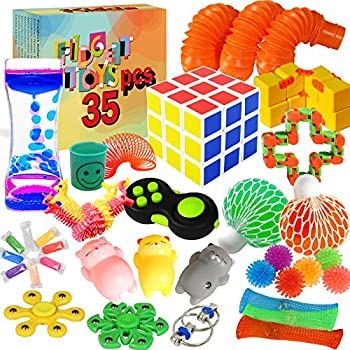 Kidcia Fidget Toys 35 PCS Sensory Toys for Adults / Kids / ADHD / Autistic / ADD / OCD to Release Anxiety / Autism with Marble Mesh & Liquid Motion Timer Gifts for Birthday / Classroom Reward