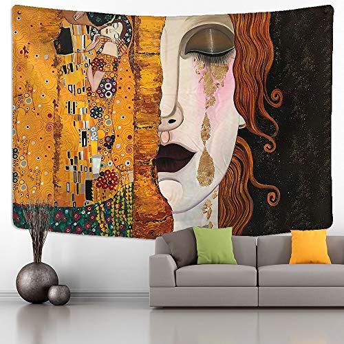 Tapiz de Gustav Klimt, montaje en pared, beso dorado, abstracto Art Deco, hogar, dormitorio, arte, fondo, tapiz de tela a3 130x150cm