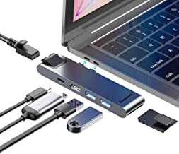 USB C Hub Adapter, Baseus 7-in-2 Thunderbolt 3 Hub for MacBook Pro 2018/2017/2016, MacBook Air 2018,with 40Gbps Thunderbolt 3 5K@60Hz and 87W PD,Ethernet Port,4K HDMI,2 USB 3.0,SD/Micro SD Card Reader