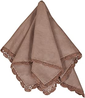 Le Crochet Lace Design Napkins, 20-inch Square, Set of 4 (Mocha)