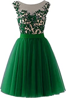 Lace Tulle Prom Dresses Short Beaded Appliques A-Line Bridesmaid Gowns for Women