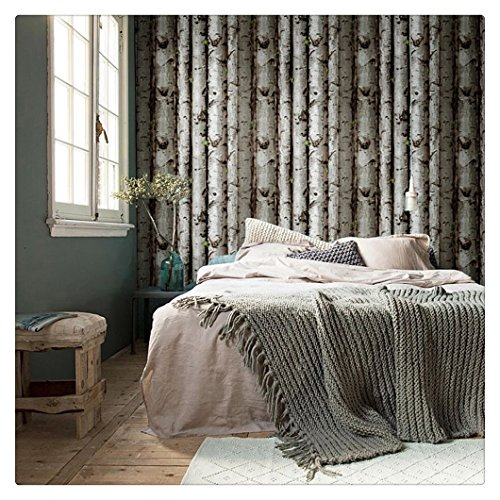 HaokHome 151033 Vintatge Birch Tree Wallpaper Rolls Black/Green/Grey Forest Wood Designer Home Interior Decoration 20.8' x 393.7'