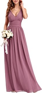 Ever-Pretty Vestito da Cerimonia Donna Linea ad A Stile Impero Chiffon Scollo a V Senza Maniche Abito da Damigella 09016