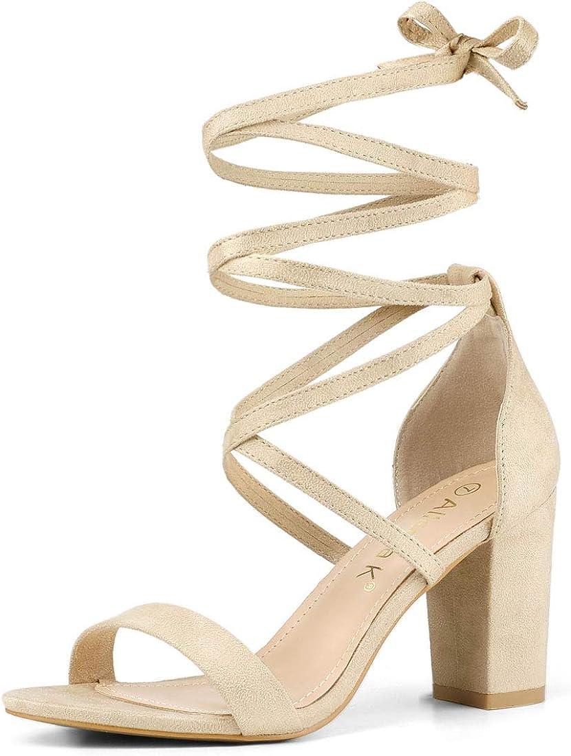 Allegra K Women's Open Toe 2021 new Lace Chunky Heel High Sandals Las Vegas Mall Up
