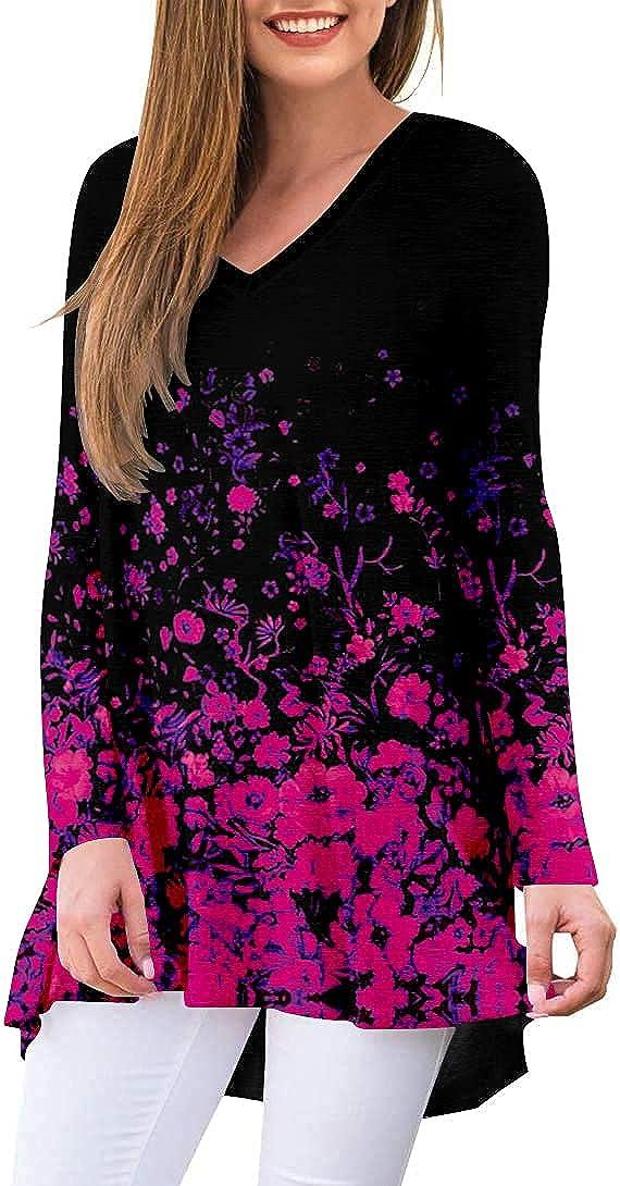 Folivora Women's Tunic Tops Floral V Neck Long Sleeve Loose Fitting Blouses For Leggings