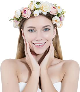 Women Flower Wreath Crown Floral Wedding Garland Headband Handmade Bridal Hair Accessories