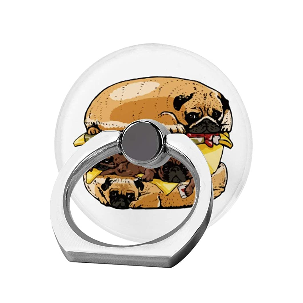 仮称クラッシュスマッシュスマホリング 携帯リング 指リング 薄型 落下防止 スタンド機能 パグ ハンバーガー 犬バーガー バンカーリング 指輪リング タブレット/各種他対応 360回転 スマホブラケット