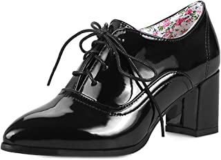 Women's Pointed Toe Oxford Shoes Wingtip Lace-up Platform Chunky High Block Heel Dress Pump Brogues