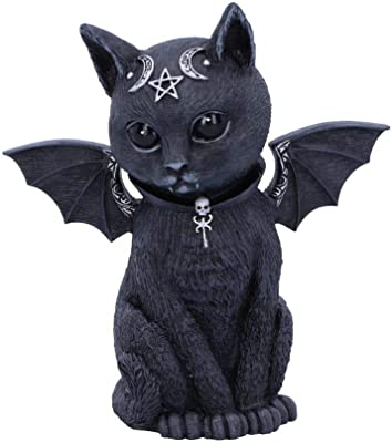Nemesis Now Malpuss Winged Occult Cat Figurine, Polyresin, Black and Silver, One Size
