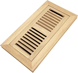 White Oak Wood Flush Mount Floor Register Vent Cover, 4x10 Inch (Duct Opening), 3/4 Inch Thickness, with Damper, Unfinished