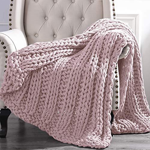 Amrapur Overseas Luxury Chunky Knit Acrylic Bed Sofa Throw, 50x60 inches, Rose
