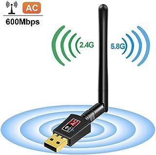 Adaptador WiFi USB 600Mbps Mini Dongle Dual Band 2.4G / 5G Red inalámbrica con antena, Soporte para PC portátil Adapter de escritorio, Compatible con Windows 10/8/7 / Vista / XP, Mac OS X 10.4-10.11.4