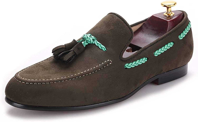 HI &HAN MEN MEN MEN sammet skor med Tassel British Style män Casual skor Loafer Smoking Slipper  Beställ nu lägsta priser