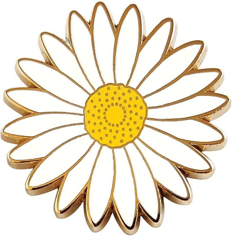 Pinsanity White Daisy Flower Enamel Lapel Pin : Clothing, Shoes & Jewelry