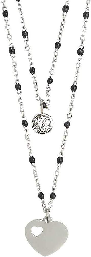Boccadamo, collana per donna,in acciaio rodiato,con zirconi e pendenti AA/GR20