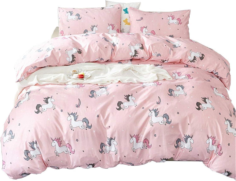 WINLIFE Unicorn Bedding Set Pink Girls Bedding Duvet Cover Set with Corner Ties King