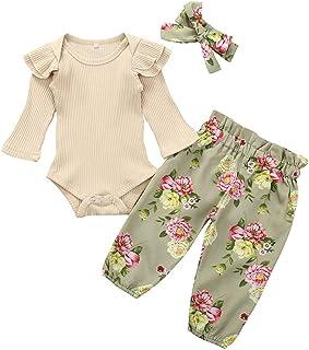 Fasce per Capelli 2 Pezzi Pagliaccetto neonata Bambina 0-24 Tute Honestyi Bambini Neonati Romper Tuta Pagliaccetto con Stampa Fulvo