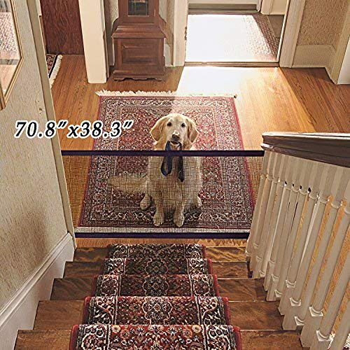 Demoke Dog Magic Gate, tragbarer Faltzaun für Haustiere, Magic Pet Door, Isolationsnetz für Hunde, Baby-Sicherheitstür 43,3/70,8 * 38,3 Zoll