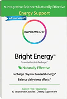 Rainbow Light - Bright Energy, Naturally Effective Support to Recharge Energy and Promote a Healthy Stress Response with Green Tea, B Vitamins and Ashwagandha, Vegetarian, Gluten-Free, 30 Capsules
