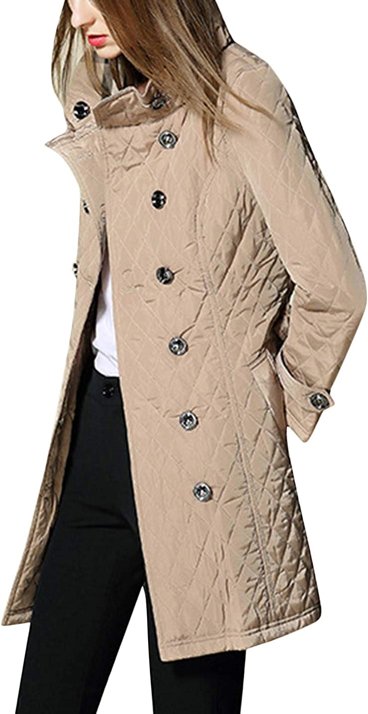 Uaneo Women's Winter Diamond Quilted Warm Jacket Coat Outerwear (Beige, X-Small)
