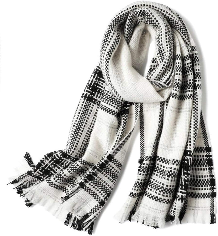 WXL Classic Plaid Scarf Keep Warm Big Shawl Dual Use Winter Black White 200×50cm V (color   Black+White)