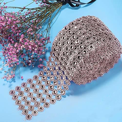 Diamond Ribbon, Bling Diamond Wrap Silver Flower Mesh Ribbon for Event Decorations, Wedding Cake, Bridal & Party Decorations Acrylic Bling Rhinestone Roll (1 Roll, 6 Rows,30 Feet)-Rose Gold