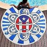 Allgobee Round Beach Towel Puerto Rico Flag Sun Tribal Sol Taino Large Blanket with Tassels Ultra Soft Multi-Purpose Beach Throw 59 Inch