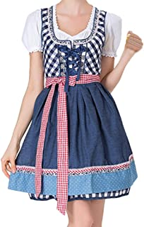 UJUNAOR Oktoberfest Maid Kostüm Plaid Kleid Set Süß Mädchen BardameBlau,CN S