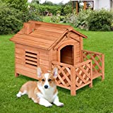 Tangkula Pet Dog House, Wooden Dog Room with Porch & Fence, Raised Vent and...