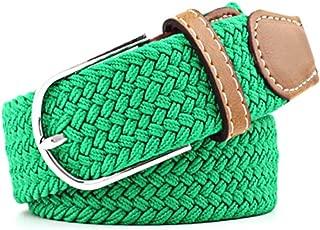 SGJFZD Men's and Women's Canvas Woven Elastic Pin Buckle Belt Personality Fashionable Student Belt Belt (Color : Green, Size : 105cm)