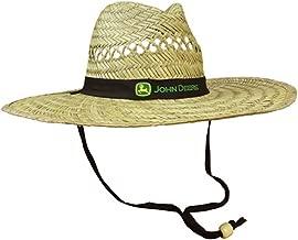 John Deere Brand Black Straw Hat with Neck Strap