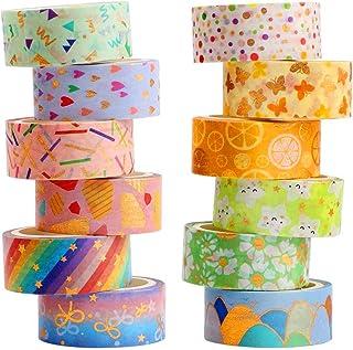 YUBX Washi Tape, 12 Rouleaux Masking Tape ruban décoratif Imprimé Feuille d'or pour arts et travaux manuels de bricolage, ...
