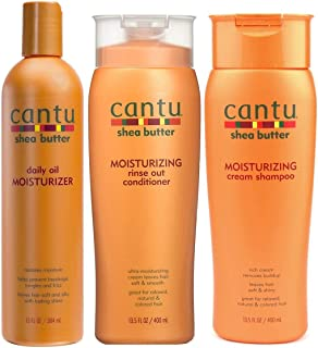 Cantu Moisturizing Cream Shampoo & Moisturizing Rinse Out Conditioner 13.5 oz and Daily Oil Moisturizer 13 oz