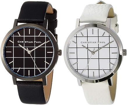 [クリスチャンポール] CHRISTIAN PAUL グリッド ペアウォッチ メンズ レディース 腕時計 35ミリ GRL-01 GRL-03 時計 黒 白 ブラック ホワイト レザーバンド アナログ [並行輸入品]